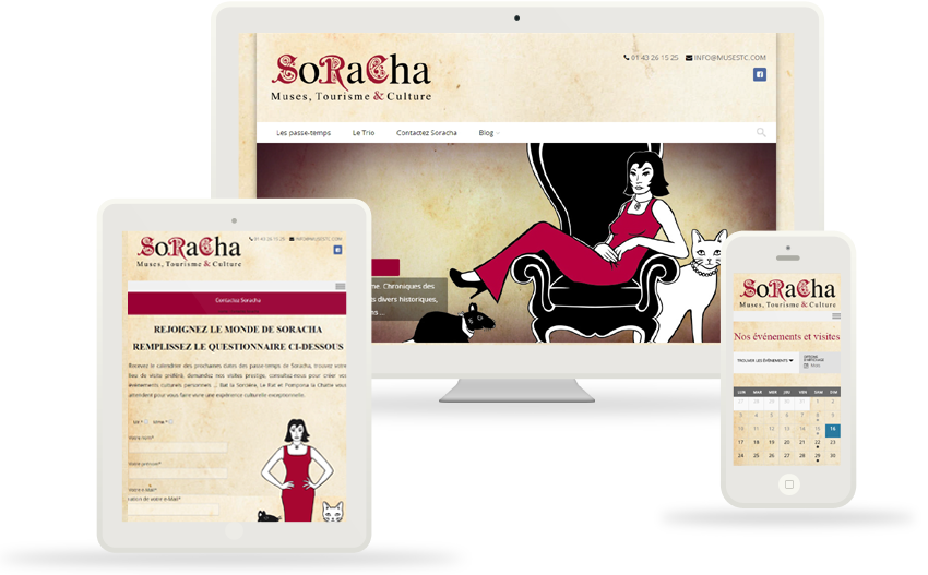 Conception et réalisation du site web soracha.fr, Développement WordPress, SEO, Conseil en ergonomie et communication visuelle